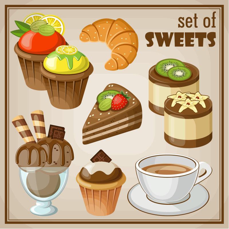 创意矢量精致的甜点图标插图