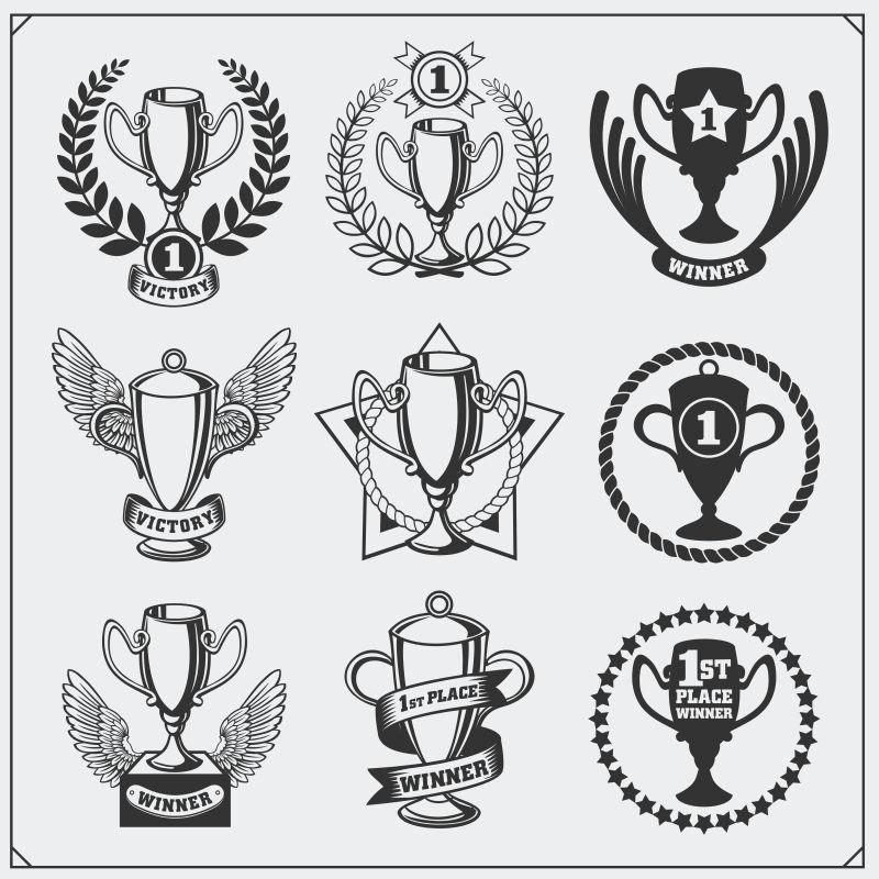 创意奖杯元素的矢量图标设计