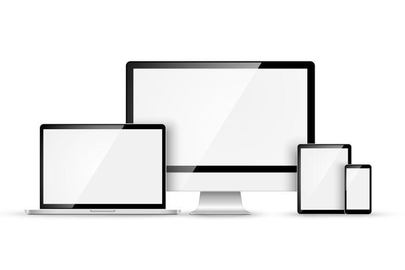 白色背景中矢量现代设备的集合