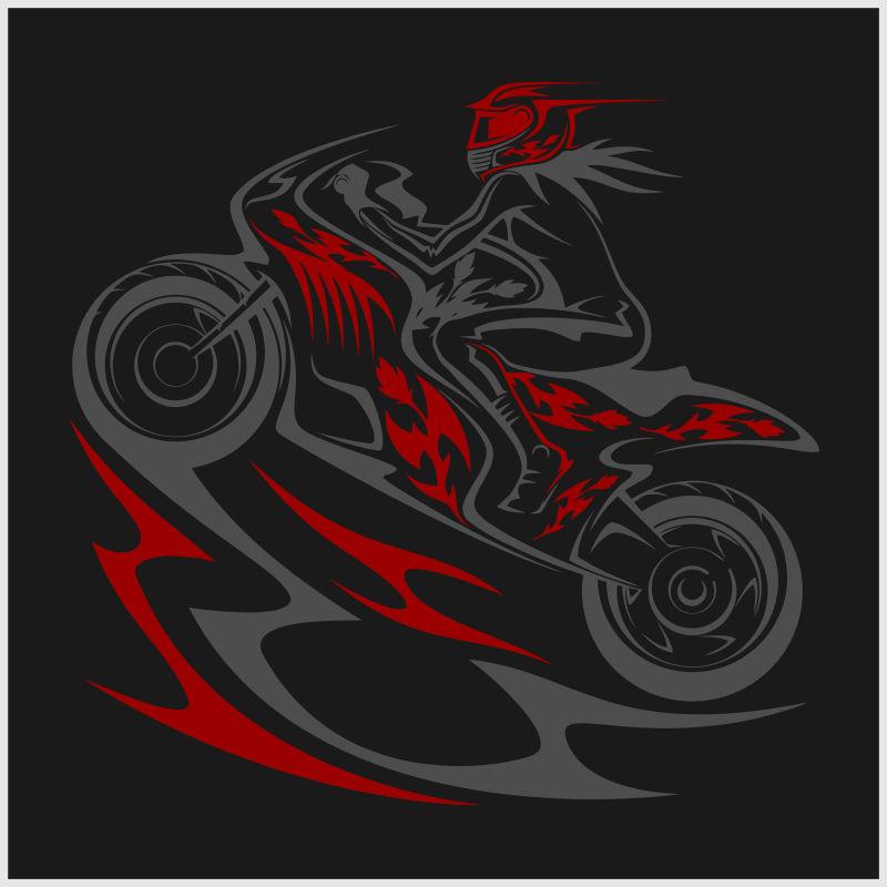 创意矢量可爱的速度摩托车插图