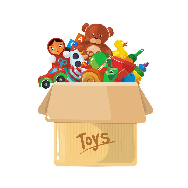 纸盒里的儿童玩具矢量插图