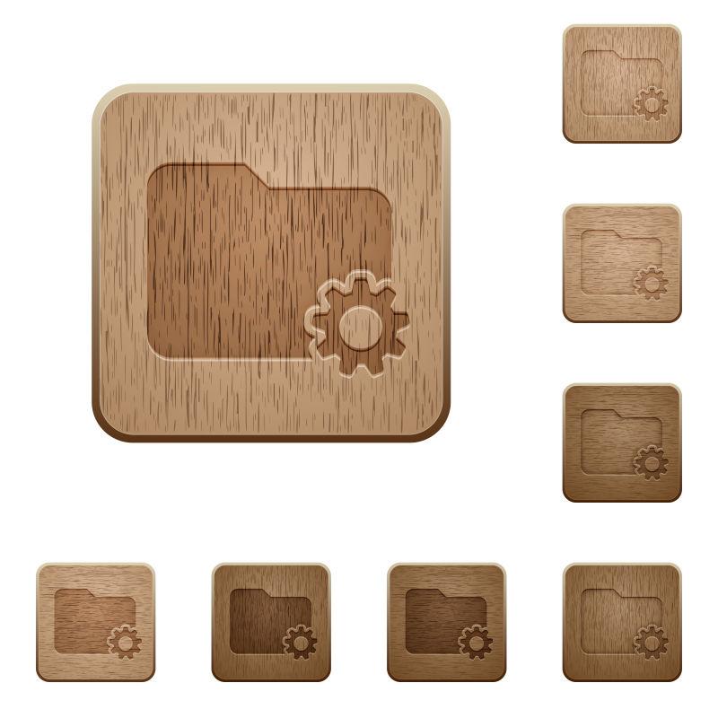 木雕文件夹设置按钮图标矢量图设计