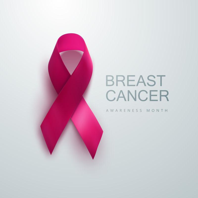 抽象矢量粉色丝带元素的创意乳腺癌宣传海报