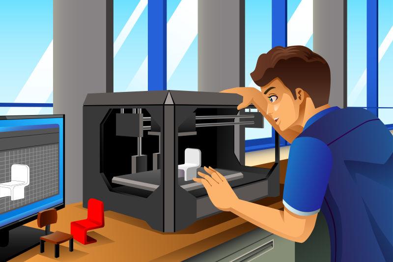 矢量使用3D打印机的人插图