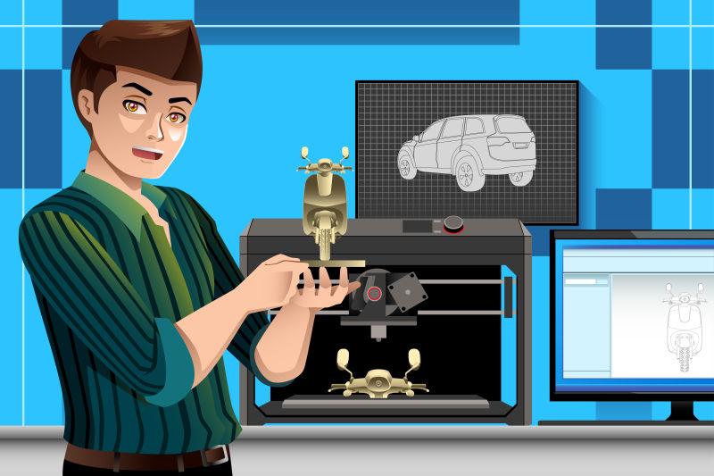 创意矢量使用3d打印机的员工插图