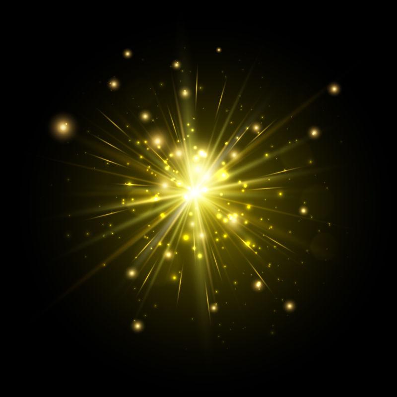 金色光束矢量插图