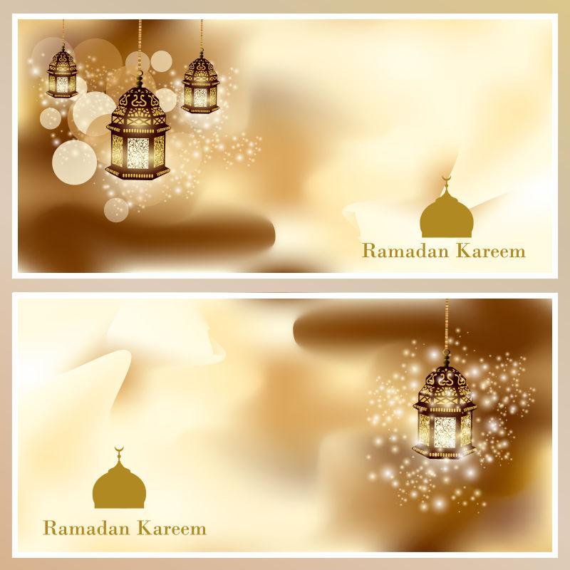 穆斯林节日发光黄金阿拉伯灯图案的贺卡矢量图