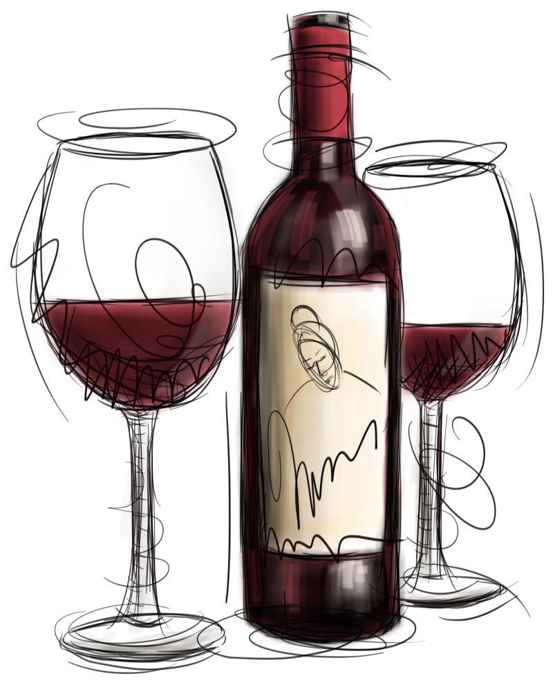 白色背景前的手绘红酒杯和红酒