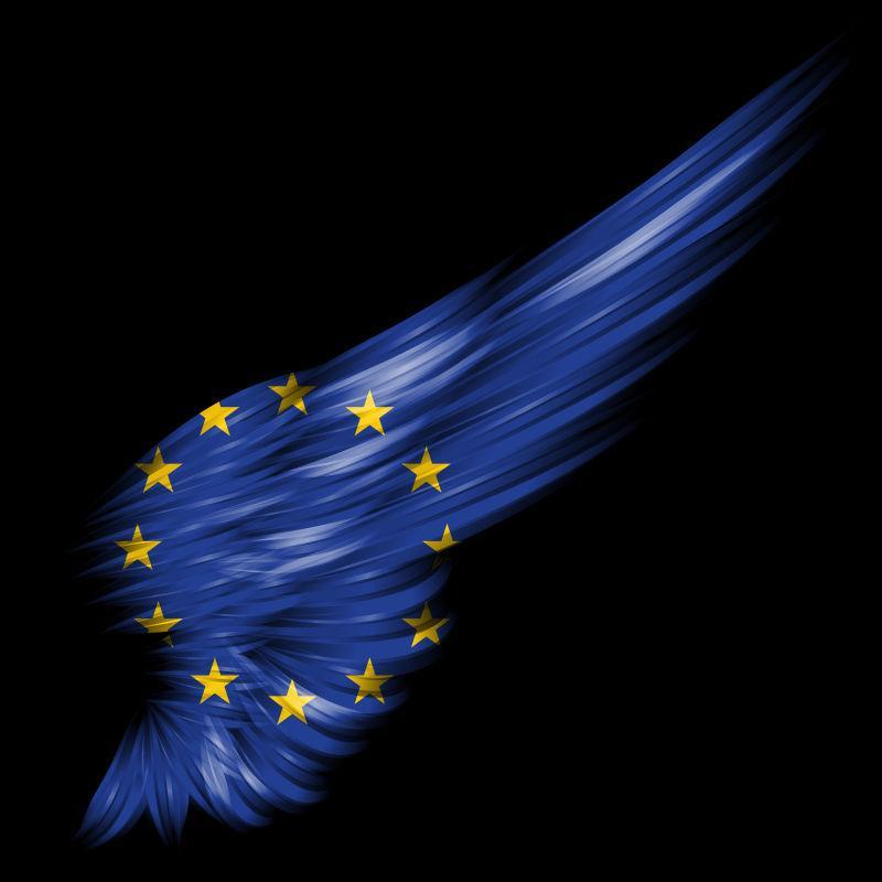 黑色背景下的欧盟旗帜抽象翼