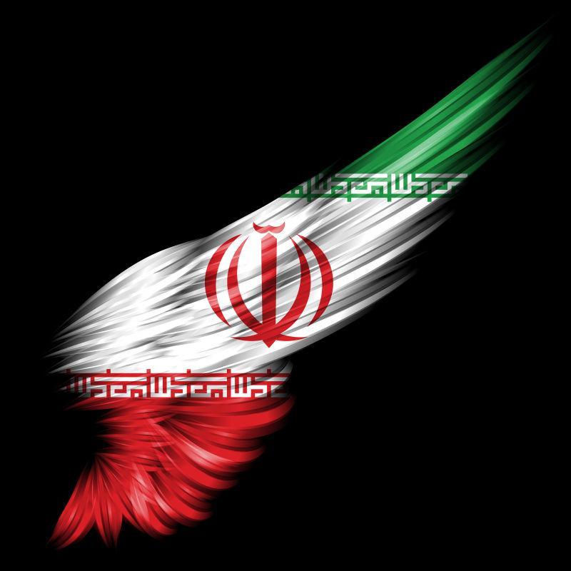 黑色背景下的伊朗国旗
