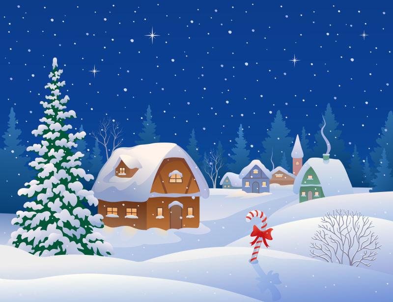卡通版冬夜圣诞节