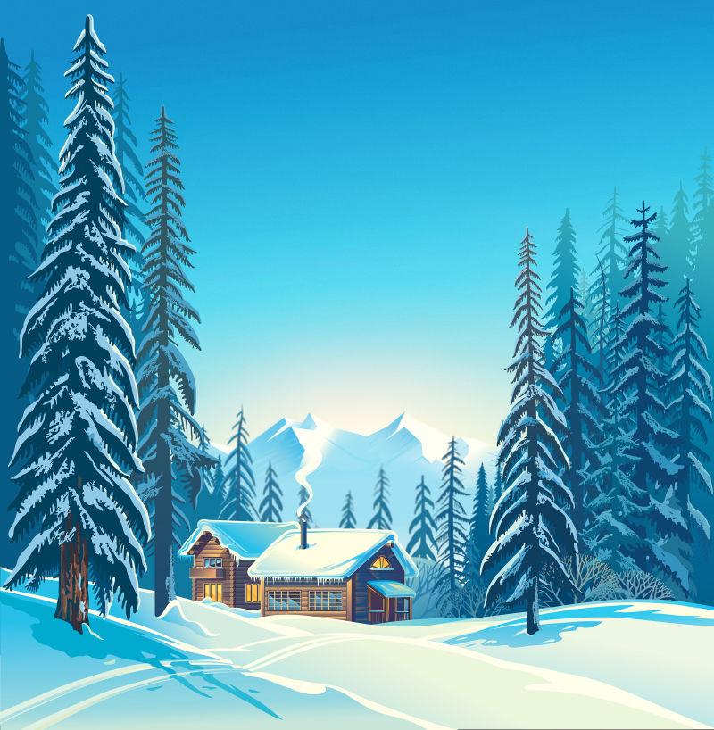 卡通版冬季的房屋