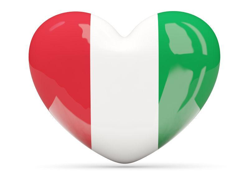 带意大利国旗的心形图标
