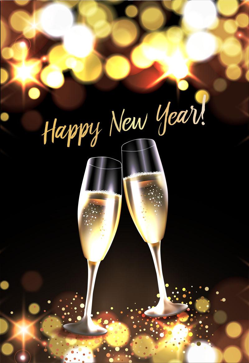 新年背景下的两杯香槟酒