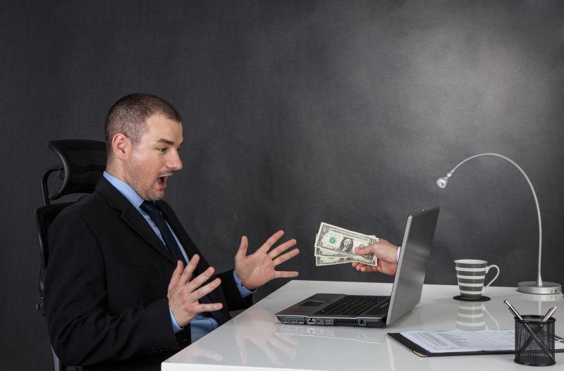 商人在网络上赚钱概念