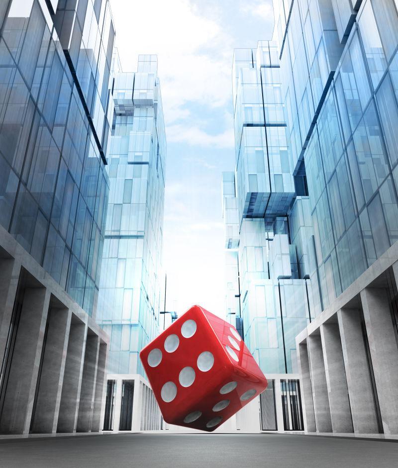 新现代商业城市街的红色财富骰子
