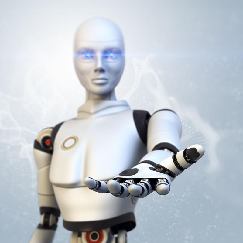 机器人伸出他的手