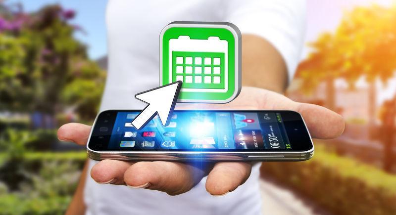 拿着现代智能手机的商人