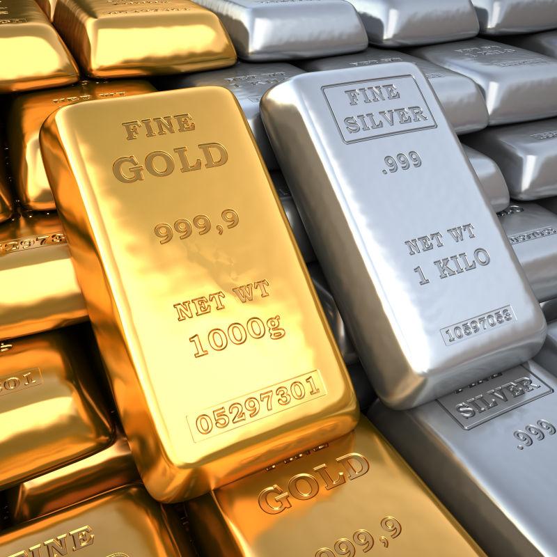 银行金库里的银锭和金块