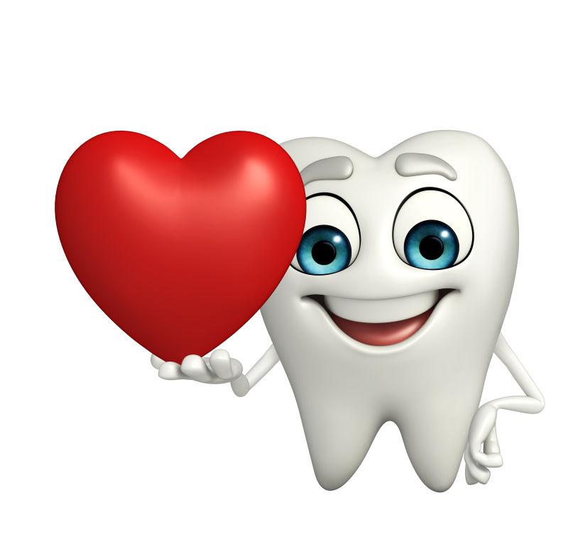 牙齿拿着红色爱心