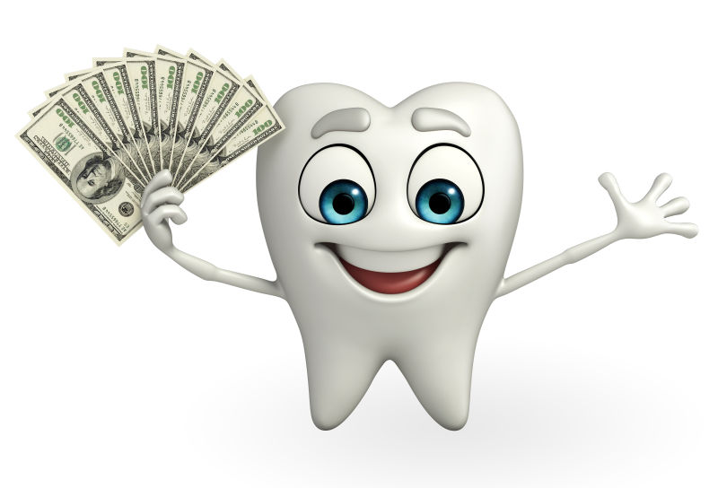 可爱的牙齿拿着一叠美元