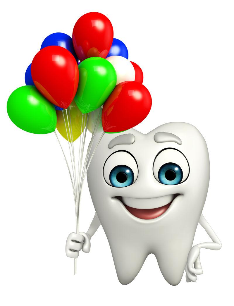 可爱的牙齿和气球