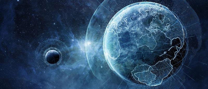 全球地球网络和数据交换地球图像