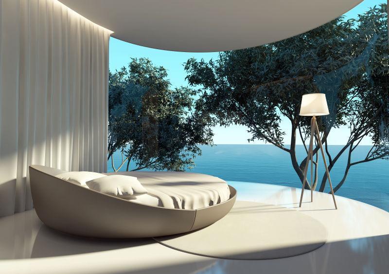 户外景观背景室内的圆形床