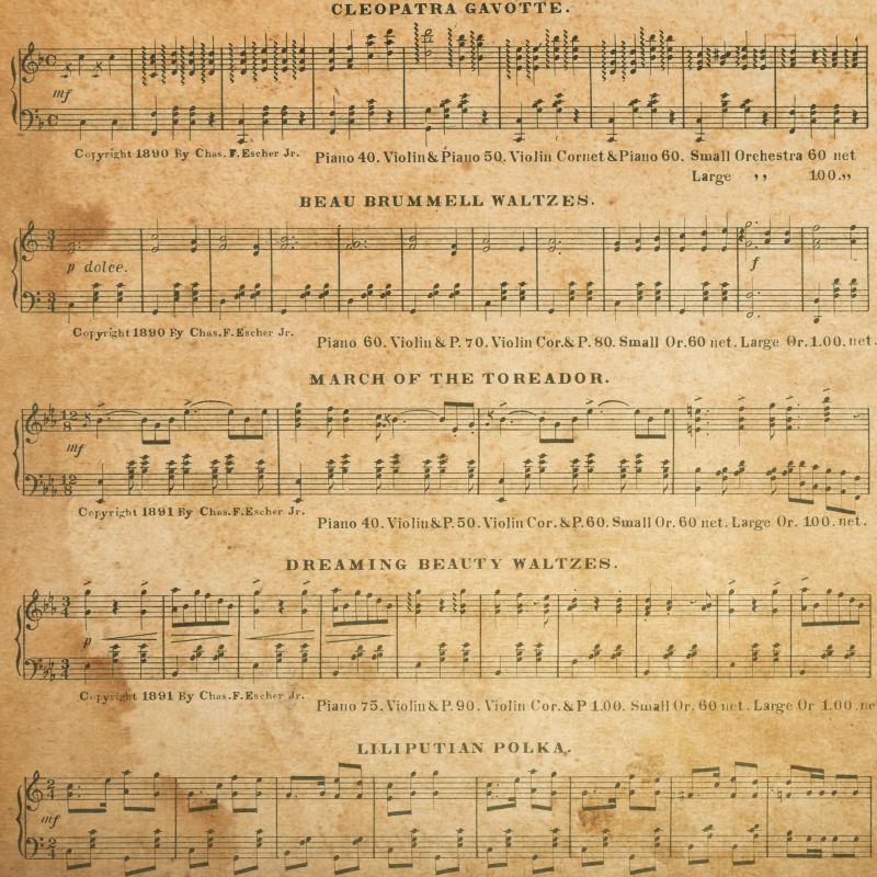 抽象的音乐背景在旧纸上