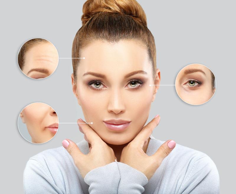 成熟女性脸上皮肤的细节