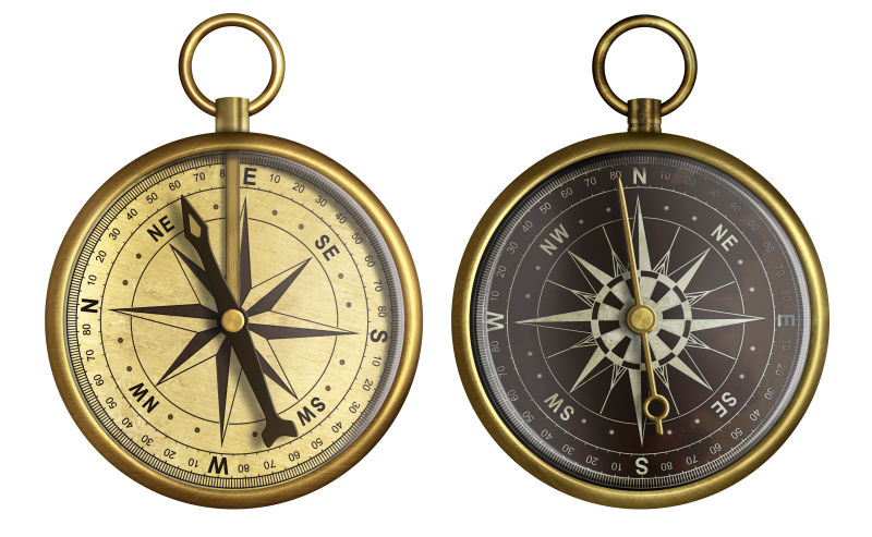 白色背景中的两个复古指南针