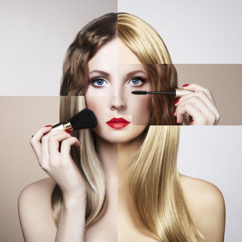 时尚化妆少女的概念
