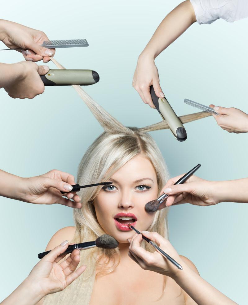 美女化妆美发概念