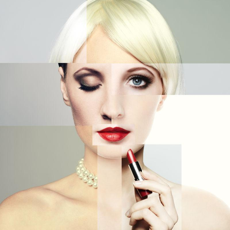 时尚女子化妆拼贴概念