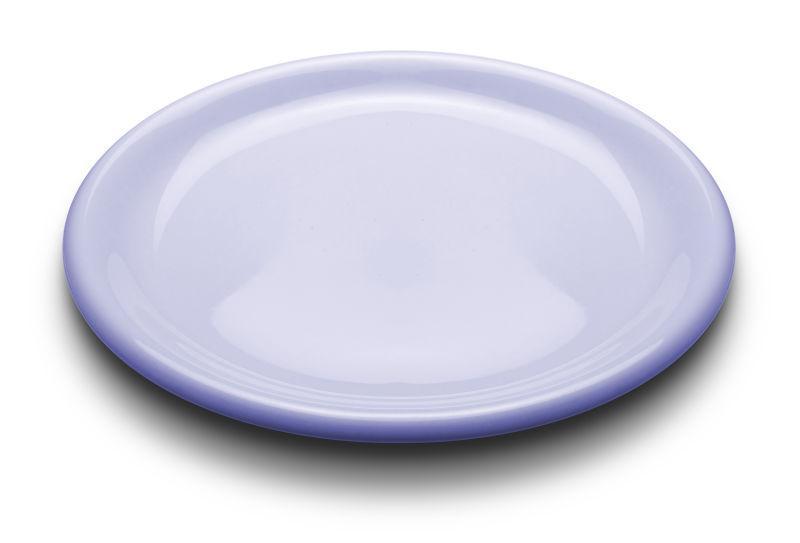 白色背景上的浅蓝色餐盘