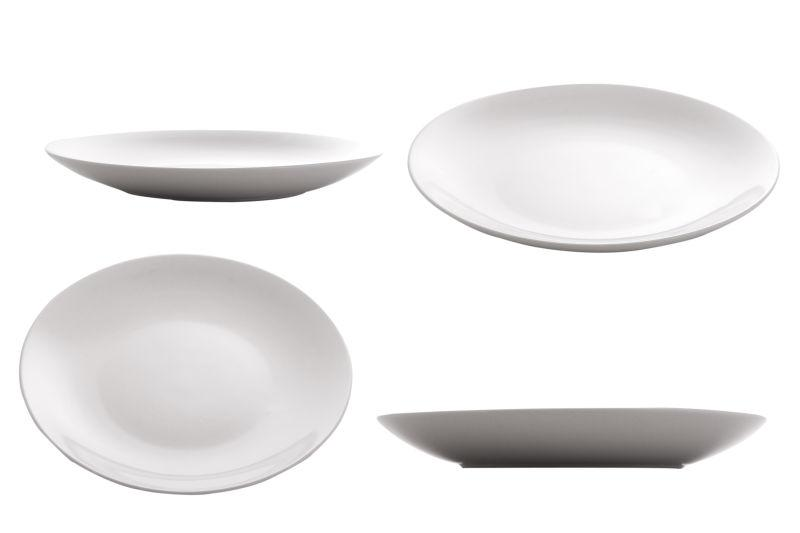 白色背景上不同造型的盘子