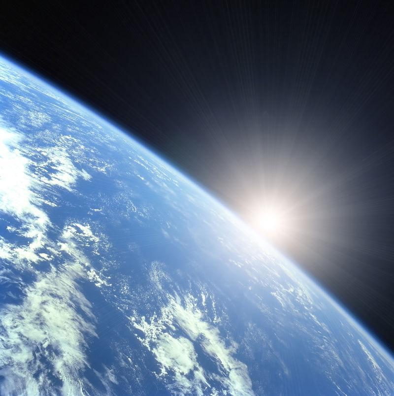 太空的太阳和地球