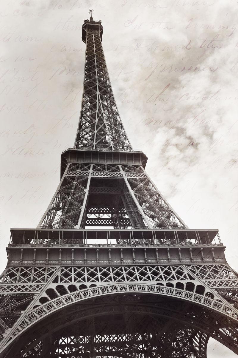 画面上的巴黎埃菲尔铁塔