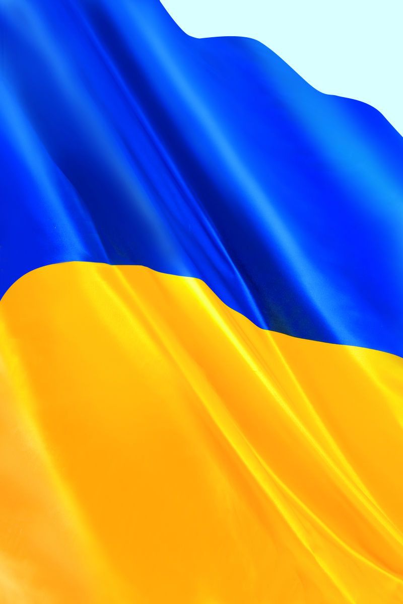 褶皱的乌克兰的国旗