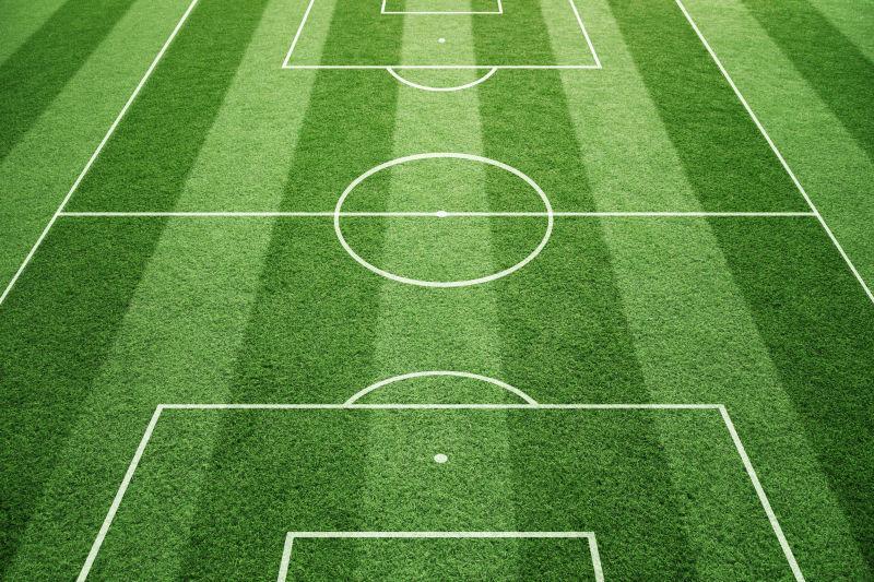 足球场在晴天草型背景下的地面线