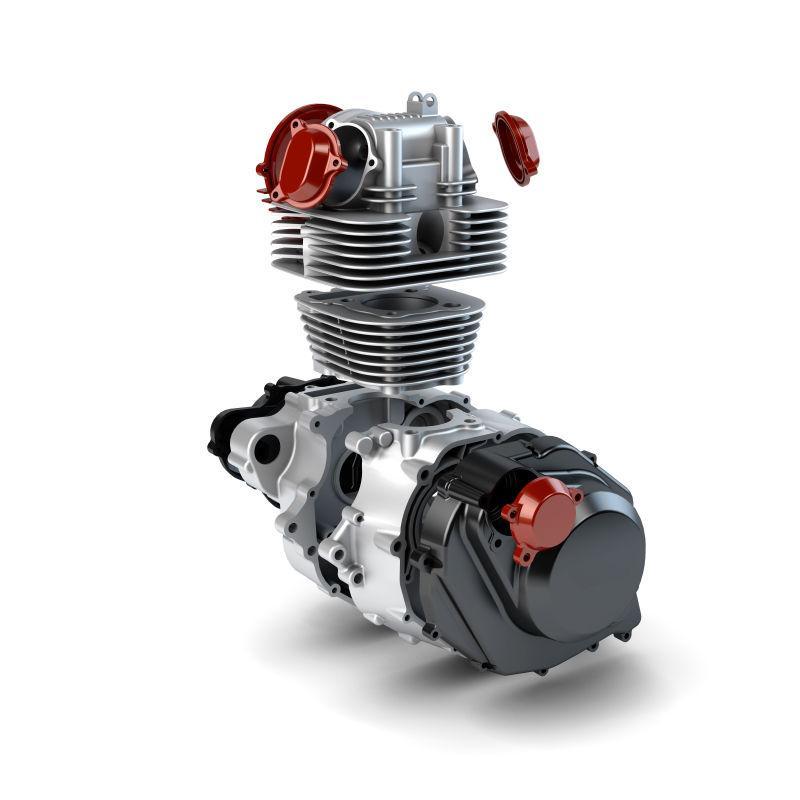 白色背景上的摩托车引擎