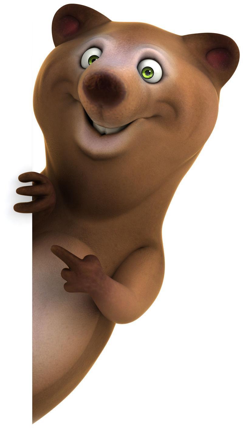 可爱的3D卡通小棕熊