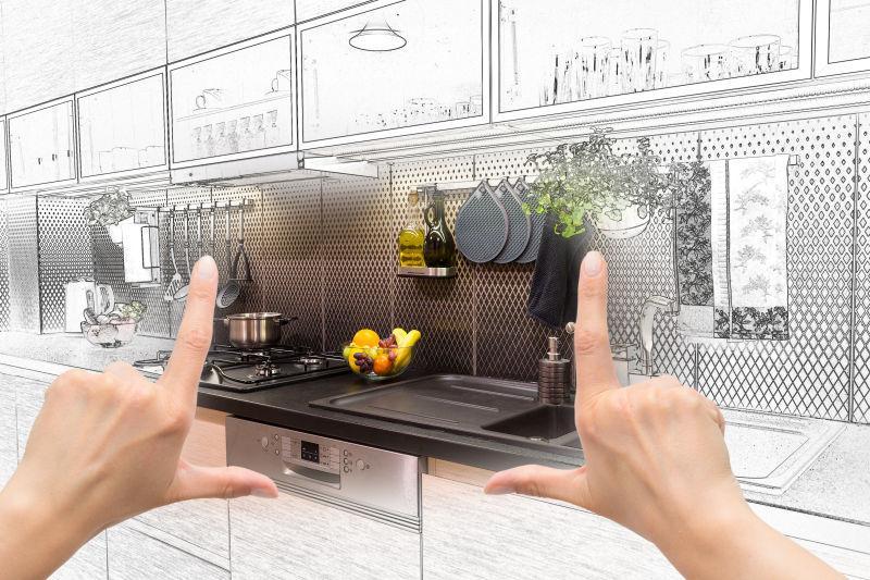 女性手工框架定制厨房内部设计方案
