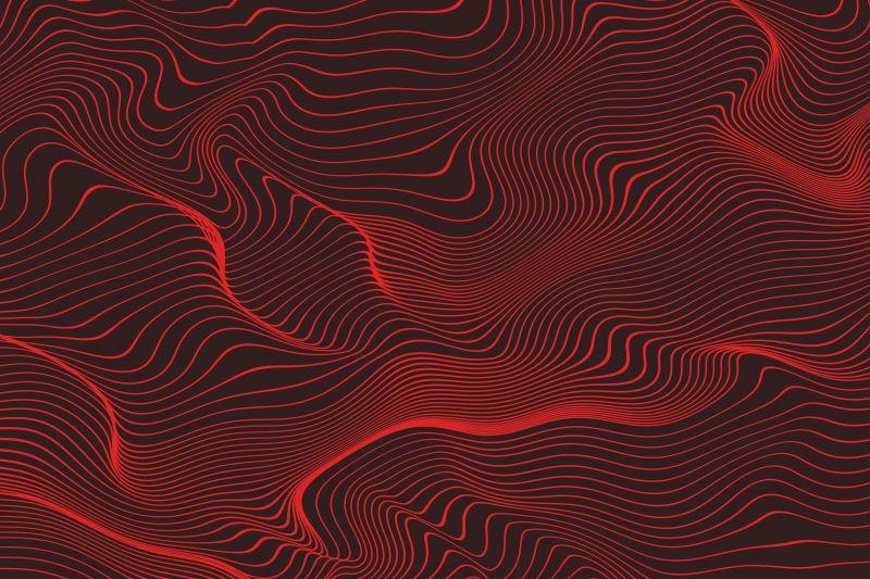 红色的抽象线型波形背景