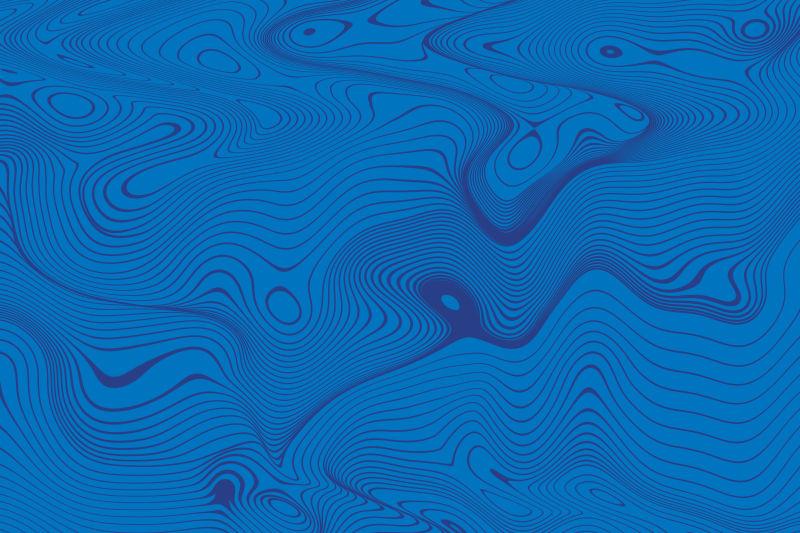 蓝色的抽象线型波形背景