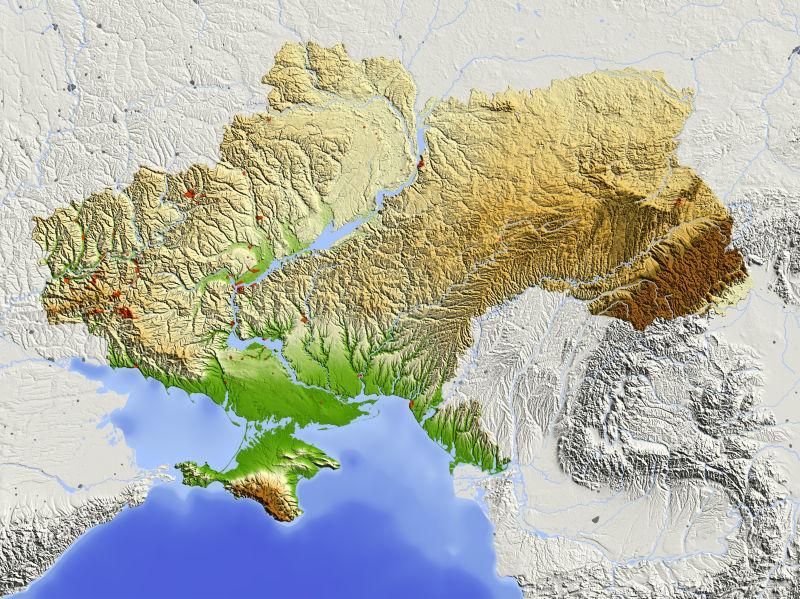 乌克兰带有主要城市区域的阴影地形图