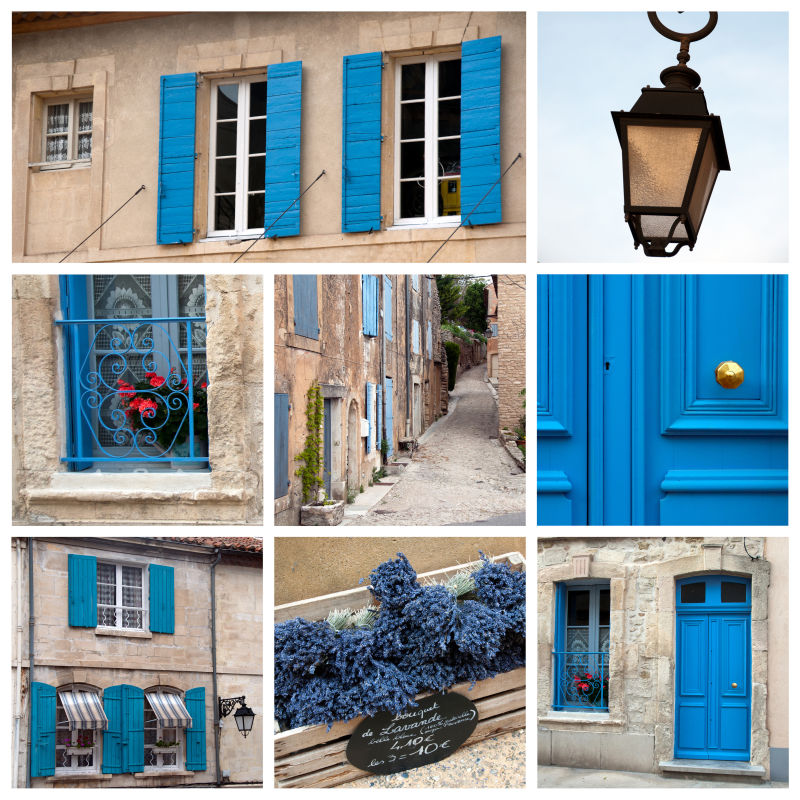 蓝色大门和窗户的拼贴背景