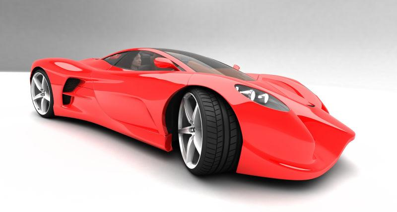 豪华跑车红色的