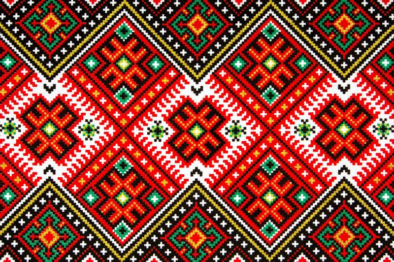 交叉的乌克兰民族刺绣