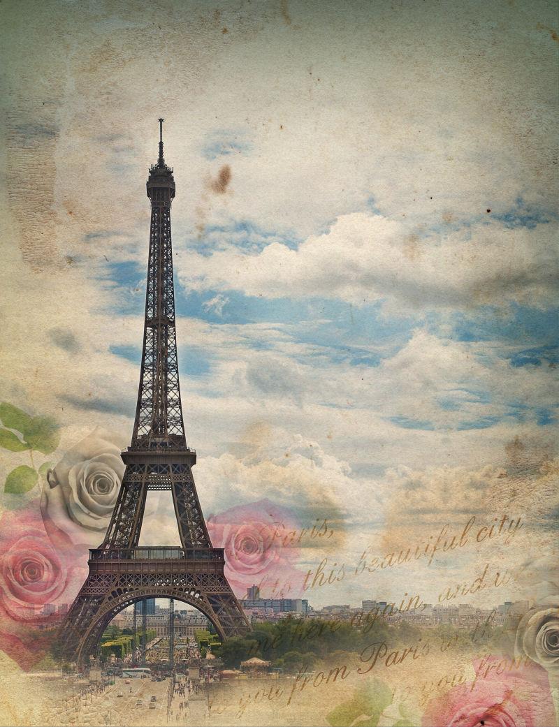 复古风格的埃菲尔铁塔玫瑰卡片